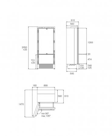 Combina frigorifica  incorporabila Bertazzoni,90 cm design Neutral, seria Profesional4