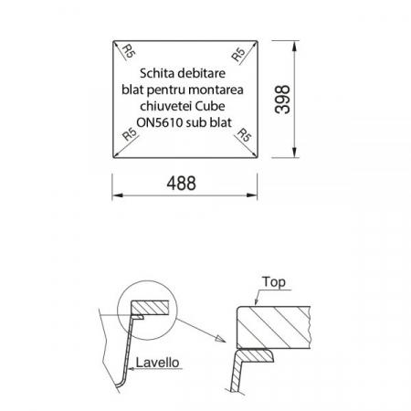 CookingAid Chiuveta bucatarie granit Cube ON5610 Alba / Polar White cu montaj sub blat + accesorii instalare [7]
