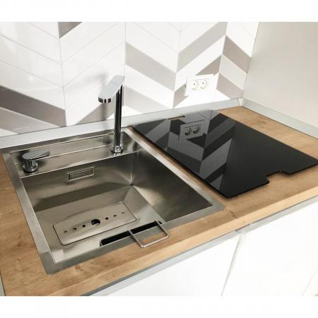 CookingAid Chiuveta bucatarie inox INVISIBLE 40R cu capac scurgere invizibil + accesorii montaj [9]