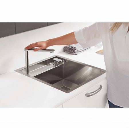 CookingAid Chiuveta bucatarie inox INVISIBLE 40R cu capac scurgere invizibil + accesorii montaj [3]