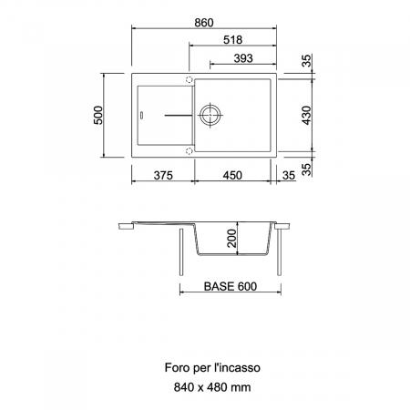 Chiuveta bucatarie granit CookingAid Infinity NF8610 Alba / Polar White reversibila stanga/dreapta cu picurator + accesorii montaj [2]