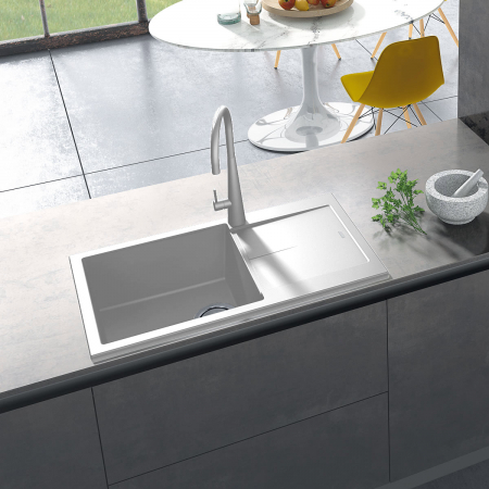 Chiuveta bucatarie granit CookingAid Infinity NF8610 Alba / Polar White reversibila stanga/dreapta cu picurator + accesorii montaj [0]