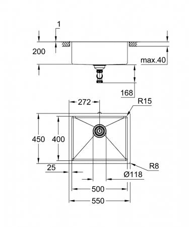 Grohe K700U 60-S chiuveta din otel inoxidabil, montaj sub blat [2]