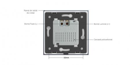 Intrerupator Livolo cu senzor de prezenta / miscare PIR, Zigbee, rama de sticla3