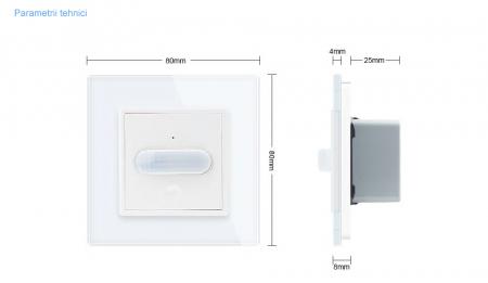 Intrerupator Livolo cu senzor de prezenta / miscare PIR, Zigbee, rama de sticla2