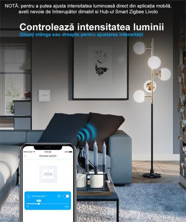Intrerupator tactil Livolo WiFi, Zigbee, cap scara / cruce, dimabil, intensitate lumina ajustabila4