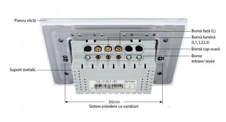 Modul Intrerupator triplu cap scara cu touch Livolo standard italian3