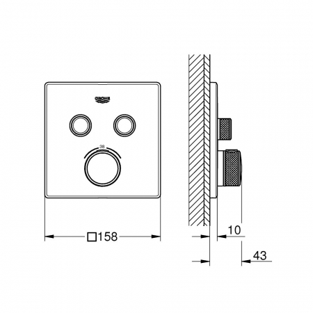 Ornament patrat Grohe Grohtherm SmartControl cu termostatat 2 valve1