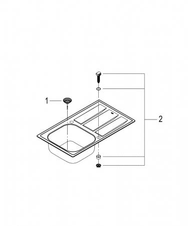 Pachet chiuveta Grohe K400 din inox  si baterie Concetto [3]