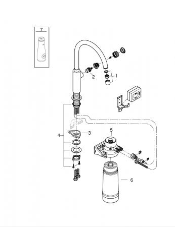Robinet bucatarie GROHE Pure Mono pentru apa filtrată1