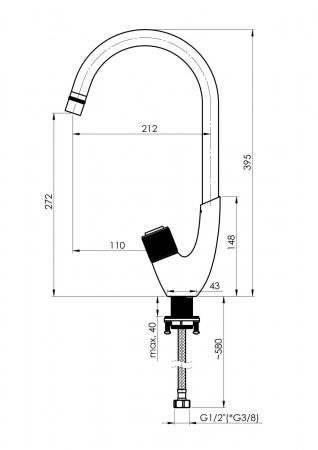Rubineta Baterie intuitiva si moderna de bucatarie model SWAN [2]