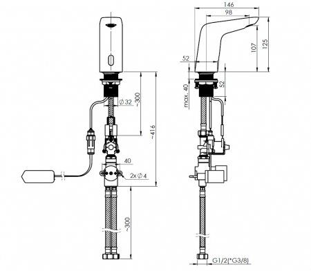 Rubineta Baterie lavoar cu senzor, regulator de temperatura si alimentare retea [4]