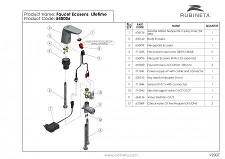 Rubineta Baterie lavoar cu senzor, regulator de temperatura si alimentare retea [5]