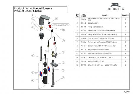 Rubineta  Baterie lavoar cu senzor si regulator de temperatura ascuns si acumulator [5]