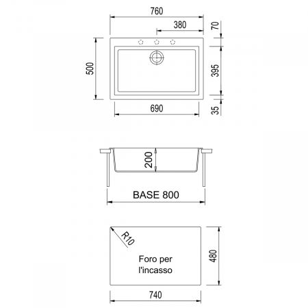 Set chiuveta bucatarie granit Cube ON7610 Bej Pigmentat / Avena + Baterie CookingAid Indiana + gratar protectie fund chiuveta + accesorii montaj3