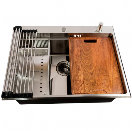 Chiuveta bucatarie inox CookingAid HERA TOP cu dozator detergent, gratar rulabil inox, tocator lemn Sapele + accesorii montaj1