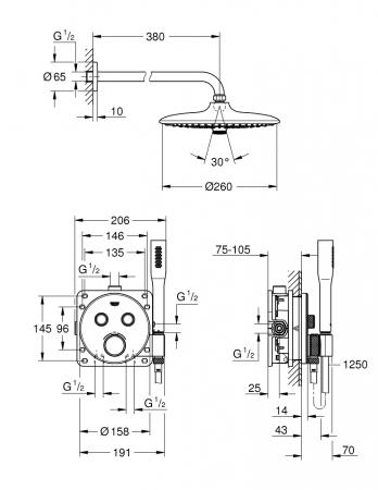 Sistem de dus incastrat cu termostat Grohe Euphoria Grohtherm SmartControl [1]