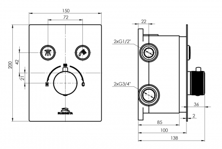 Sistem de dus incastrat Rubineta Thermo 2F OLO cu 2 functii baterie termostatica [8]