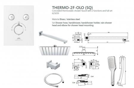 Sistem de dus incastrat Rubineta Thermo 2F OLO cu 2 functii baterie termostatica [2]