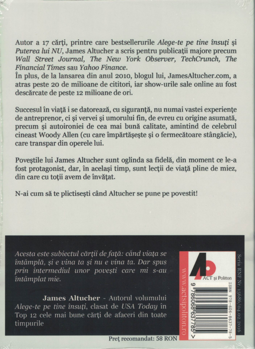 Alege-te PE TINE INSUTI. Povestile.  AUDIOBOOK CD MP3 - James Altucher [1]