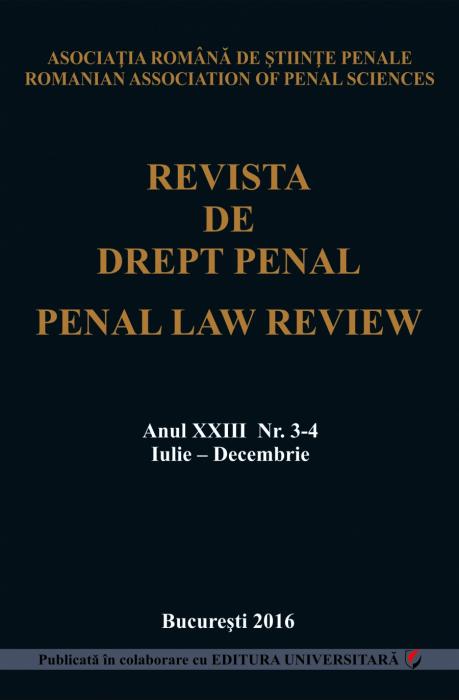 Revista de Drept Penal, anul XXIII, nr. 3-4, iulie-decembrie 2016 [0]