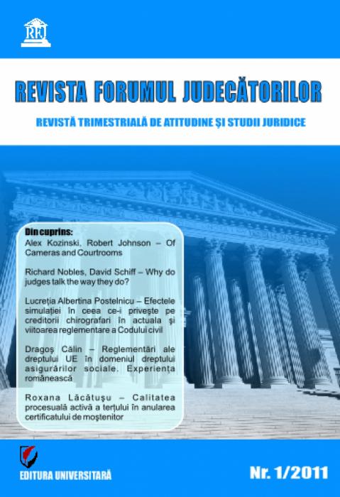 Revista Forumul Judecatorilor - Nr. 1/2011 0