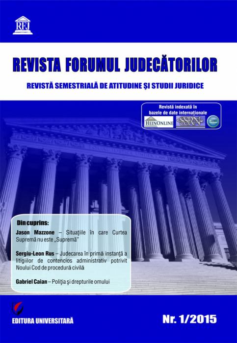 Revista Forumul Judecatorilor - nr. 1/2015 [0]