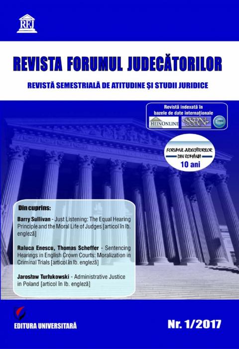 Revista Forumul Judecatorilor - nr. 1/2017 0