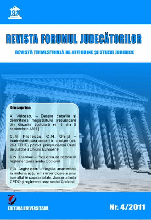 Revista Forumul Judecătorilor - nr. 4/2011 0