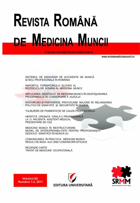 Revista Romana de Medicina Muncii, vol. 62, nr. 1-2/2011 0