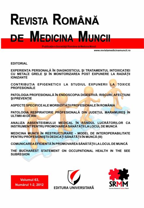Romanian Journal of Occupational Medicine, vol. 63, No. 1-2/2012 0