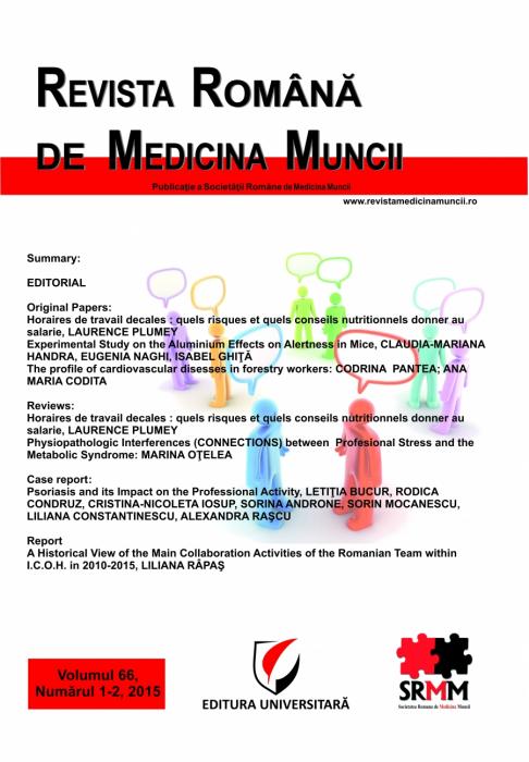 Revista Romana de Medicina Muncii, vol. 66, nr. 1-2/2015 0