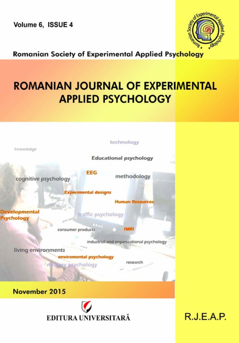 Romanian Journal of Experimental Applied Psychology, vol. 6, issue 4/2015 0