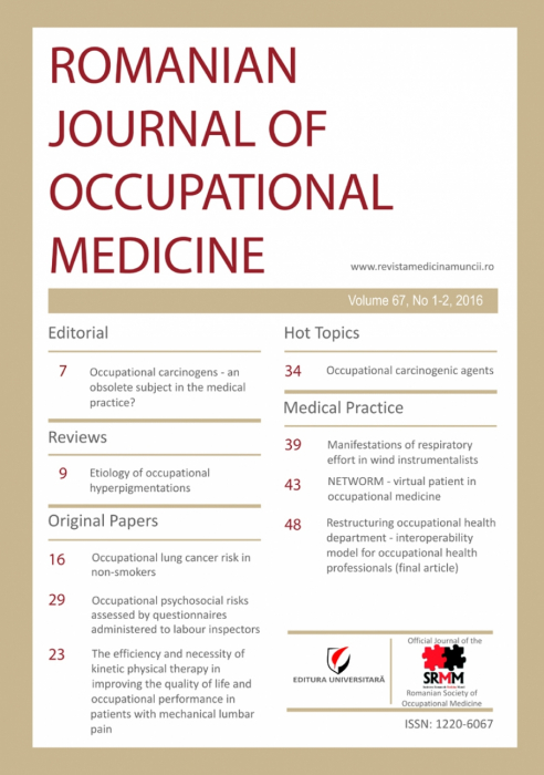 Romanian Journal of Occupational Medicine, vol. 67, no. 1-2/2016 0