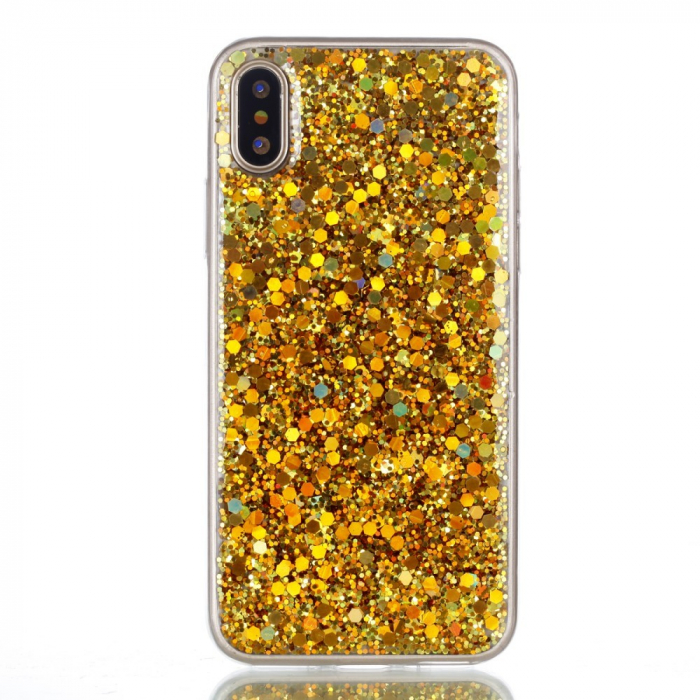 Husa Iphone X/Xs silicon cu paiete gold 0