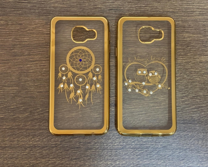 Husa silicon placata si pietricele Samsung A3 2016 - 2 modele gold 0