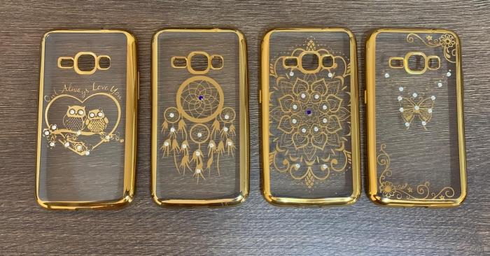 Husa silicon placata si pietricele Samsung J1 2016 - 4 modele gold 0