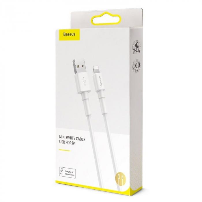 Cablu USB Baseus Mini USB Lightning  2.4A 1m (White) [2]