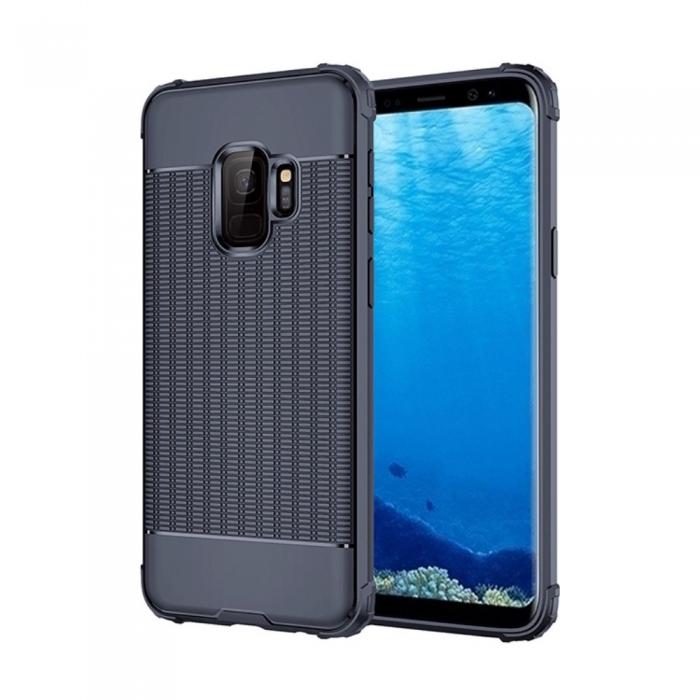 Husa silicon anti shock cu striatii Samsung S9, Albastru 0