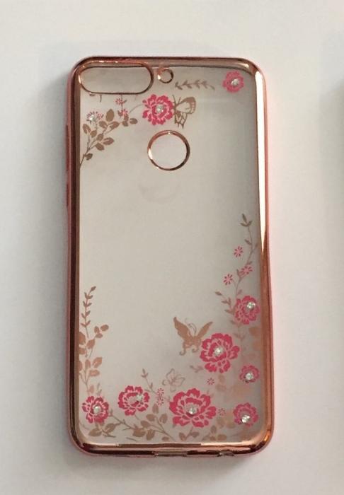 Husa silicon placata si pietricele Huawei Y7 Prime - 2 culori - Touch of luxury 0