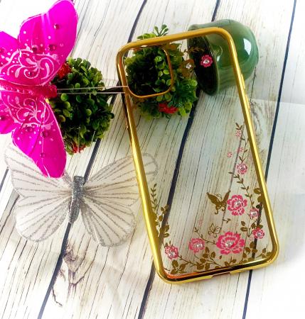 Husa silicon placata si pietricele iPhone 12 Mini - Gold [1]