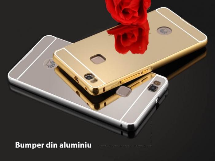 Husa bumper aluminiu cu spate oglina Huawei P9 lite - 2 culori 1