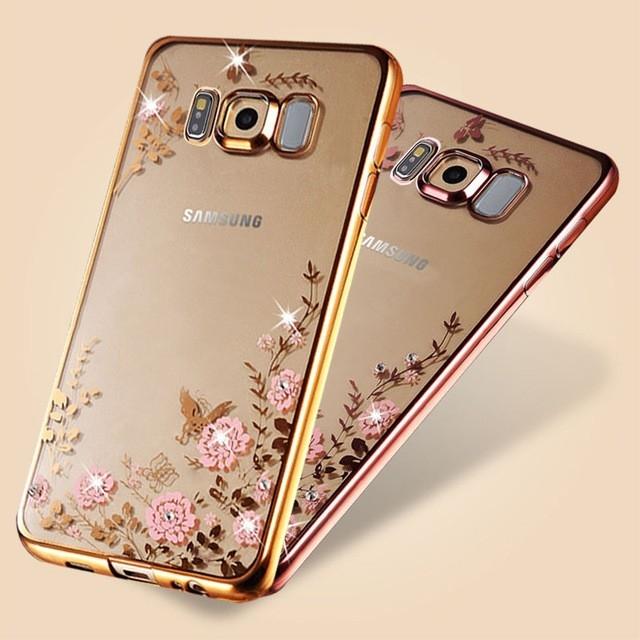 Husa silicon placata si pietricele Samsung S8+ - 2 culori 0