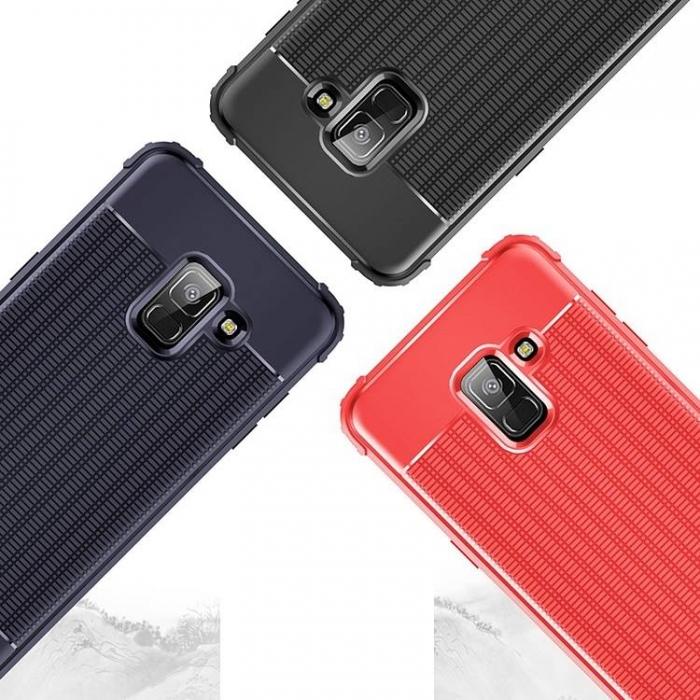Husa silicon anti shock cu striatii Samsung A7 (2018), Negru 0