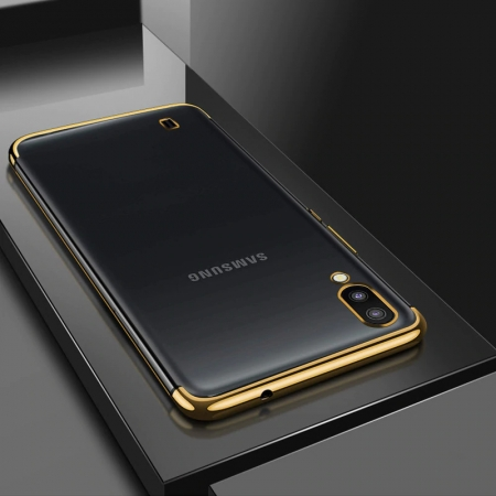 Husa silicon placat margini Samsung A10, Negru [0]