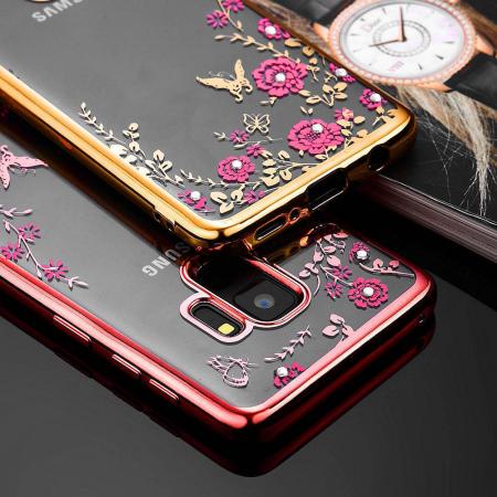 Husa silicon placata si pietricele Samsung A20s - Rose gold [0]