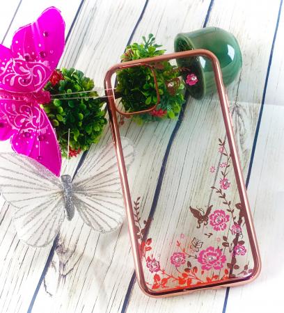 Husa silicon placata si pietricele iPhone 12 Mini - Rose gold [1]