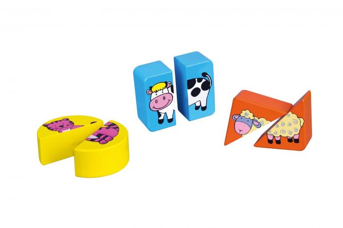 Puzzle din cuburi din lemn cu animale Viga 2