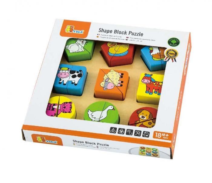 Puzzle din cuburi din lemn cu animale Viga 1