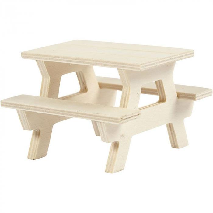 Figurină din lemn - bancă de picnic 0